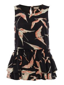 Vero Moda Sleeveless Round Neck Printed Peplum Top