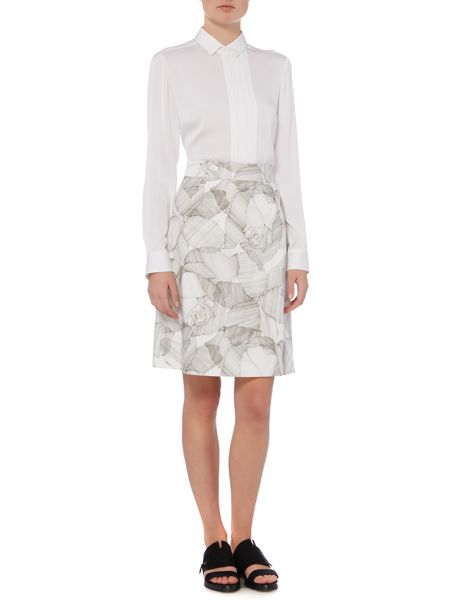 Hugo Boss Victyna Cotton Broken Flower Aline Skirt