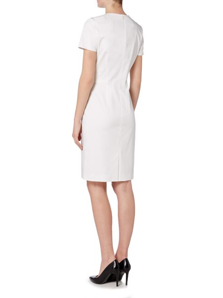 Hugo Boss Deshina V Neck Fitted Cotton Dress