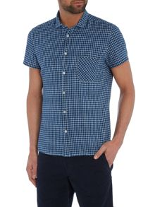 Ezippoe classic fit linen mix check shirt