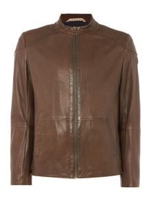 Hugo Boss Jermon funnel neck leather biker jacket