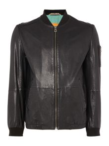 Hugo Boss Jemmay perforated leather bomber jacket