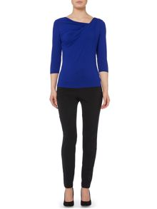 Twist cowl neck 3/4 sleeve jersey top
