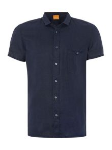 Hugo Boss Esushie classic fit linen short sleeve shirt