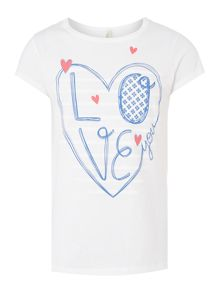 Benetton Girls Love heart graphic tee