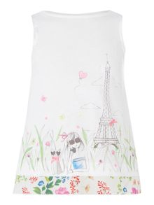 Benetton Girls Paris print layered vest