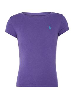 Girls short sleeved crew t-shirt with small pony