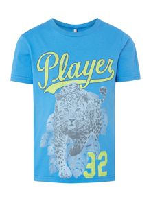 Benetton Boys Leopard player graphic tee