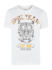 Benetton Boys Tiger team graphic tee