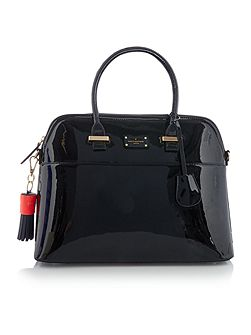 Patent maisy black medium rounded tote bag