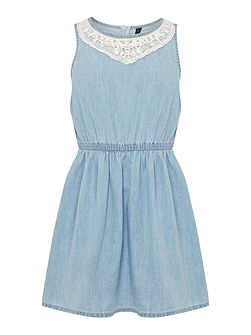 Girls Denim dress with lace detail