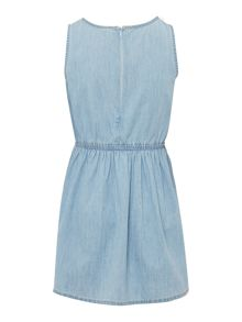 Benetton Girls Denim dress with lace detail