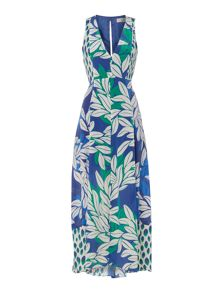 Marella Fenny leaf print maxi dress