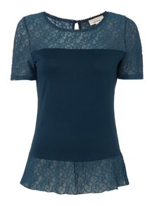 Linea Peplum lace detail top