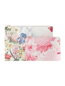 Ted Baker Roselli grey floral double pouch