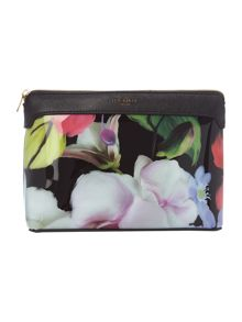 Ted Baker Ennily black floral large cosmetic bag