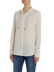 Maison Scotch Lightweight long sleeve polka dot shirt