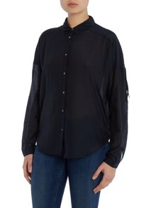 Maison Scotch Long sleeve drape shirt with fringe detail