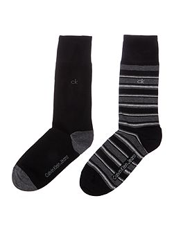 Men's Calvin Klein Two Pack Stripe/Solid Sock