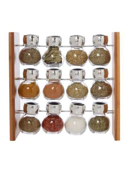 Linea Bamboo filled 12 piece spice rack