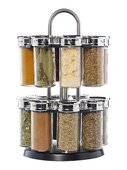 Stainless steel filled 16 pc spice rack