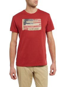 Regular fit crew neck american flag print t shirt