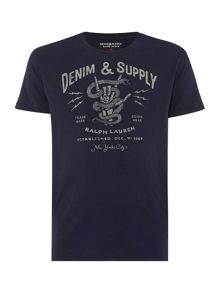 Denim and Supply Ralph Lauren Refular fit crew neck panther head t shirt