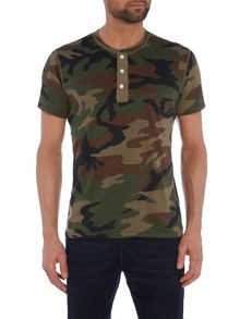 Denim and Supply Ralph Lauren Regular fit camo henley flag placket t shirt