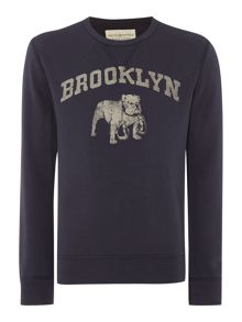 Regular fit Brooklyn print crew neck sweatshirt