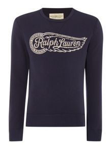 Denim and Supply Ralph Lauren Regular fit printed logo crew neck sweatshirt