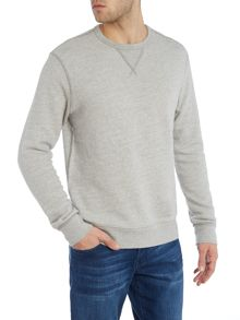 Regular fit plain crew neck sweatshirt