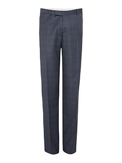 Melange Twill Over Check Suit Trousers