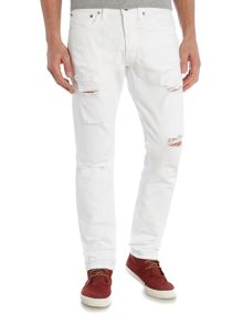 Coolidge shred slim fit white jeans