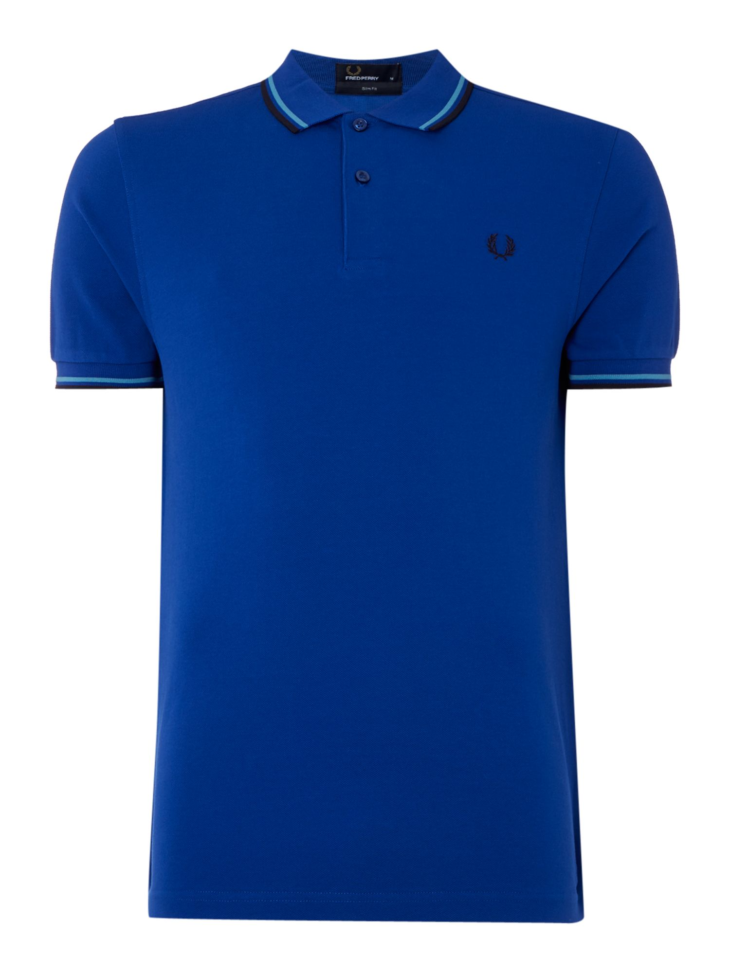 Mens Fred Perry Twin Tipped Slim Fit Polo Shirt Blue
