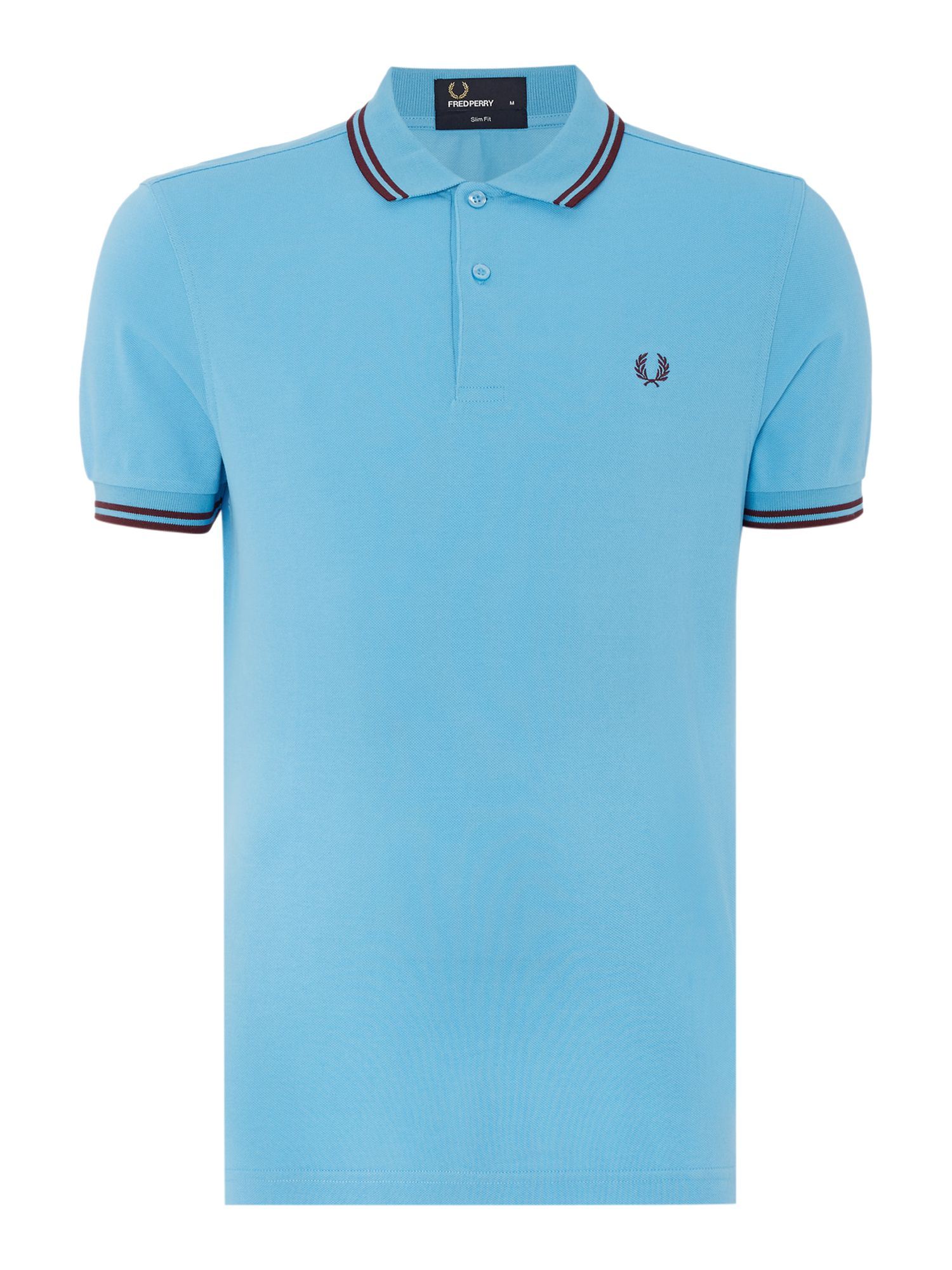 Mens Fred Perry Twin Tipped Slim Fit Polo Shirt Sky Blue