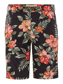Slim fit floral chino shorts