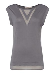 Label Lab Vee insert chiffon jersey mix tee