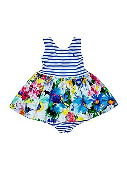Baby Girls Cap Sleeve floral Stripe Dress
