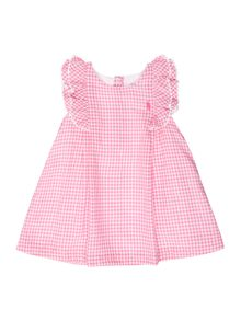 Polo Ralph Lauren Baby Girls Cap Frill Sleeve Gingham Dress