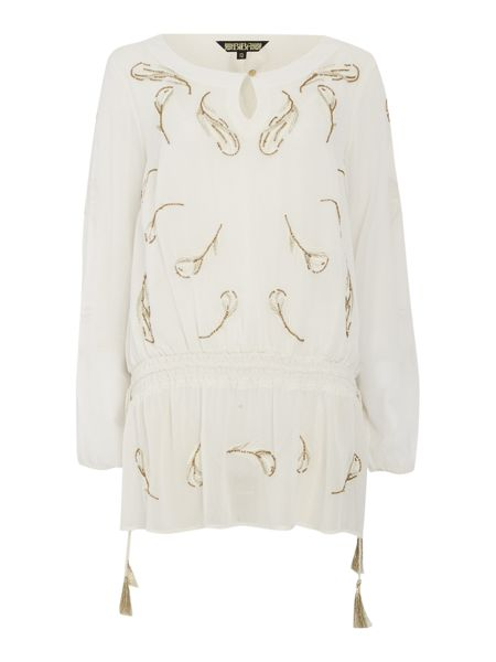 Biba Feather embellished longline blouse