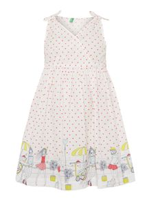 Benetton Girls Paris scenery boarder dress