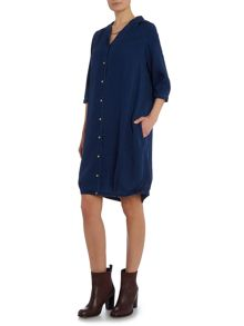 Maison Scotch Tencel pleat shirt dress