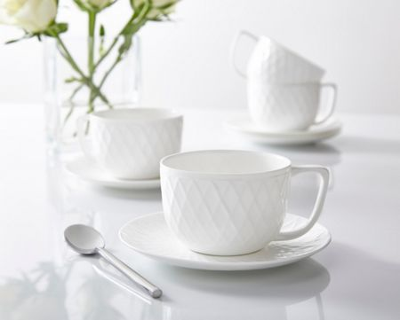 Linea Ceremony fine bone china set of 4 teacup & saucer