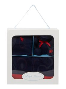 Polo Ralph Lauren Baby Boys Stripe Shortall,Hat & Teddy Gift Box
