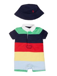 Baby Boys Stripe Shortall,Hat & Teddy Gift Box