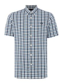 Herringbone gingham short sleeve shirt