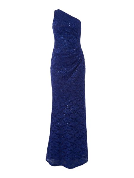 Jessica Wright One Shoulder Lace Maxi Dress