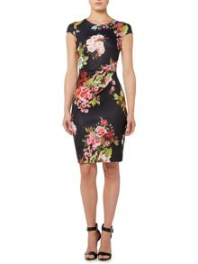 Cap Sleeve Round Neck Floral Bodycon Dress