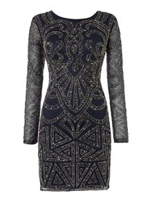 Long Sleeved Round Neck Embellished Dress