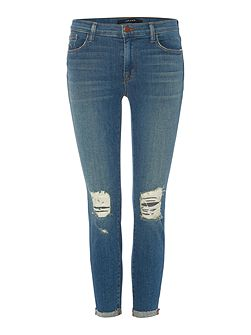 Mid rise ripped crop skinny jean in breathless
